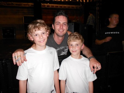 Gail's sons with Noah Harmon of The Airborne Toxic Event