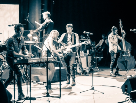 The Airborne Toxic Event with the Pacific Symphony.  Photo taken by TATE fan Ryan Macchione.