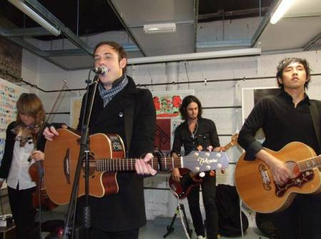 """The Airborne Toxic Event perform a """"private show"""" for Stephanie and Sean at a music shop"""