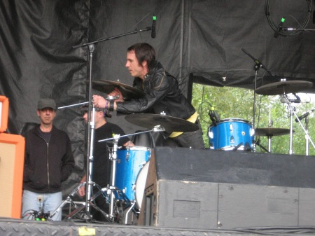 Drummer Daren Taylor, setting up his own kit at Squamish Festival 2012. Photo by Glen.