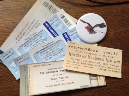 The Airborne Toxic Event ticket stubs