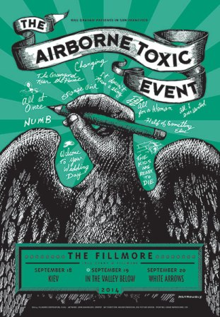 The Airborne Toxic Event Fillmore Night 2 poster created by John Mavroudis (http://zenpop.com).