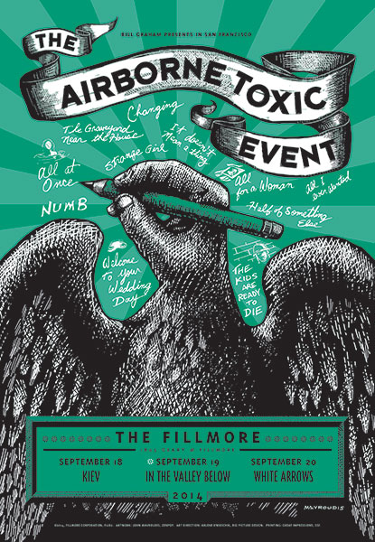 The Airborne Toxic Event Fillmore Night 2 poster created by John Mavroudis (http://zenpop.com).