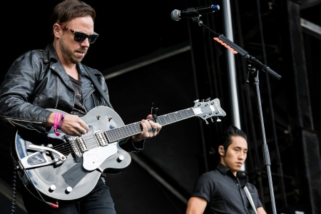Mikel Jollett and Steven Chen of The Airborne Toxic Event bring the noise to Sonic Boom Festival, Edmonton, AB, Aug. 31, 2014. Photo by Creative Copper Images (http://www.creativecopperimages.com/).