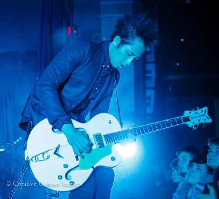 Bathed in Blue: Steven Chen of The Airborne Toxic Event. Photo by Creative Copper Images, Oct. 23, 2014, Vancouver, BC.
