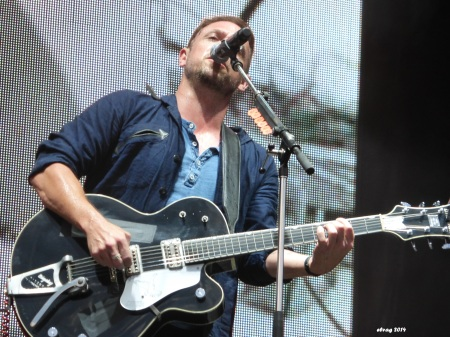 """The Airborne Toxic Event's Mikel Jollett rocks the debut performance of """"Dope Machines"""" at Boonstock Music Festival. Photo by Elva."""