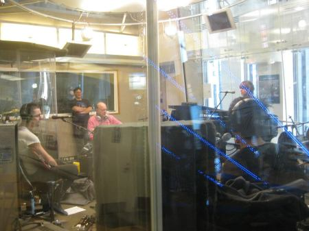 """The Airborne Toxic Event plays in the Sirius-XM studio during """"Live From E Street Nation."""" Dave Marsh is in the pink shirt, with Steven Fein standing behind him. Photo by Carin Perilloux."""