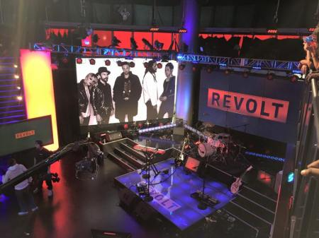 The stage is set for The Airborne Toxic Event at Revolt TV. Photo by Elva.