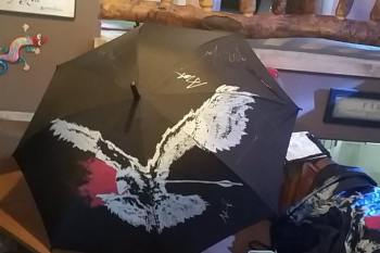 The Airborne Toxic Event umbrella, hand painted by Tim and Wendy Steele