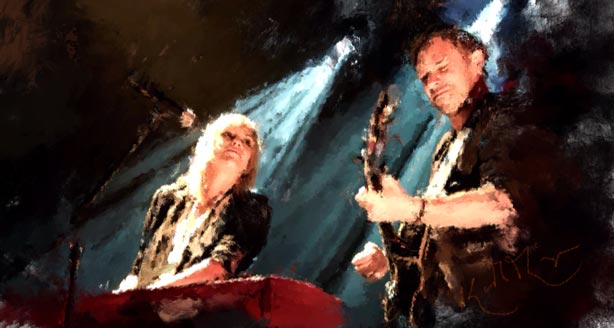 The Airborne Toxic Event digital painting by Keith Thompson, based on a photo by Creative Copper Images