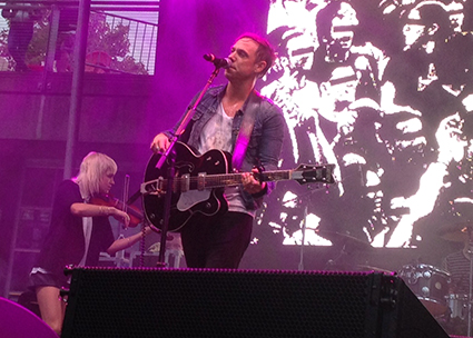 Daylight turned to dusk as The Airborne Toxic Event closed their rainy set at Bumbershoot.